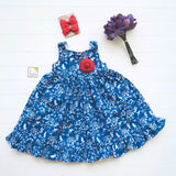 Poppy Dress - Ruffle Shirt in Blue Bird Garden Print