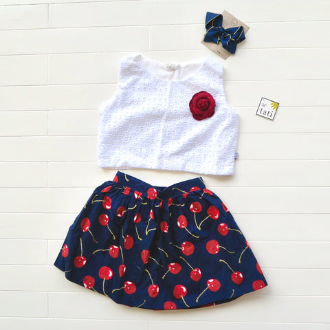 Sage Top and Skirt in Aztec White Embroidery and Navy Cherries