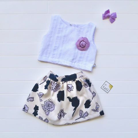 Sage Top and Skirt in White Embroidery and Purple Hue