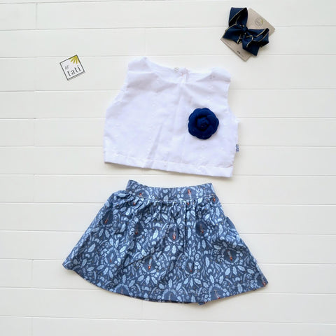 Sage Top and Skirt in White Eyelet and Fairy Tale Blue
