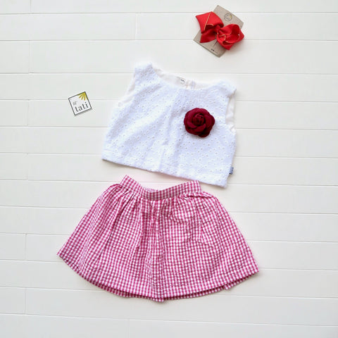 Sage Top and Skirt in White Eyelet and Strawberry Red Seersucker