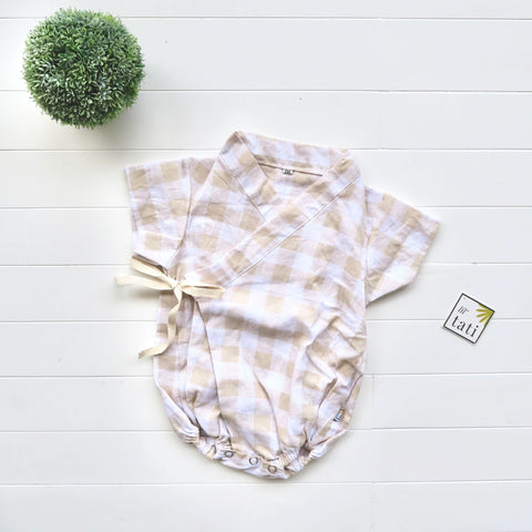 Sakura Kimono Onesie in Brown Checkered Linen-Lil' Tati