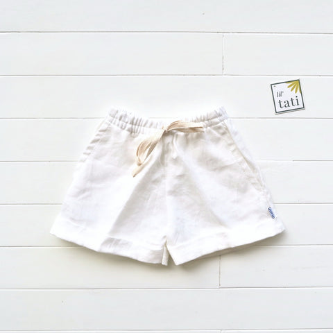 Sundrop Shorts in White Linen