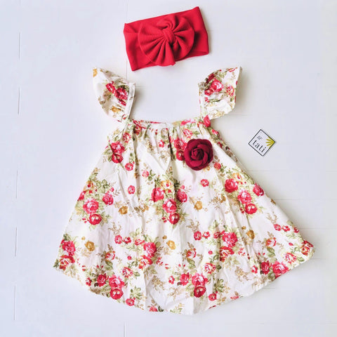 Sunflower Dress in Red Flowers Print-Lil' Tati