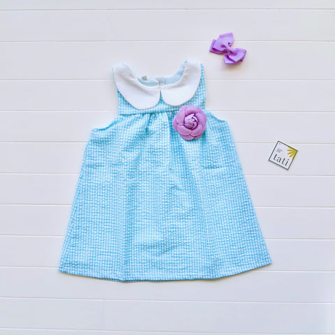 Tea Rose Dress in Blue Seersucker