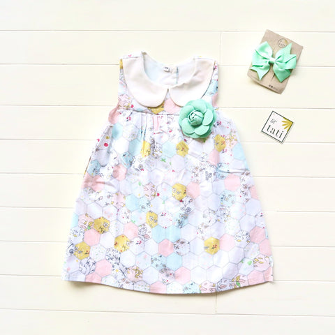 Tea Rose Dress in Pastel Merry Hexagon