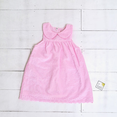 Tea Rose Dress in Pink Eyelet-Lil' Tati