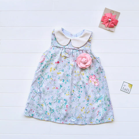 Tea Rose Dress in Soft Gray Garden Print
