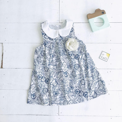 Tea Rose Dress in Stamp White Print