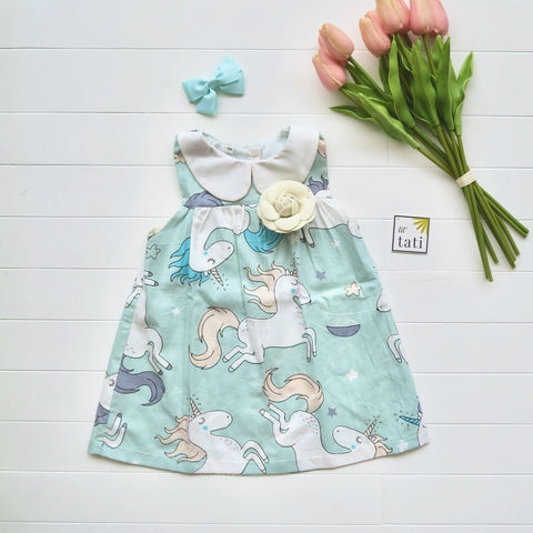 Tea Rose Dress in Unicorn Mint Print-Lil' Tati