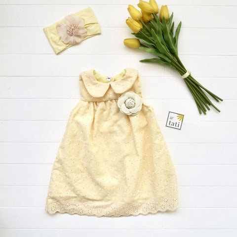 Tea Rose Dress in Yellow Eyelet-Lil' Tati