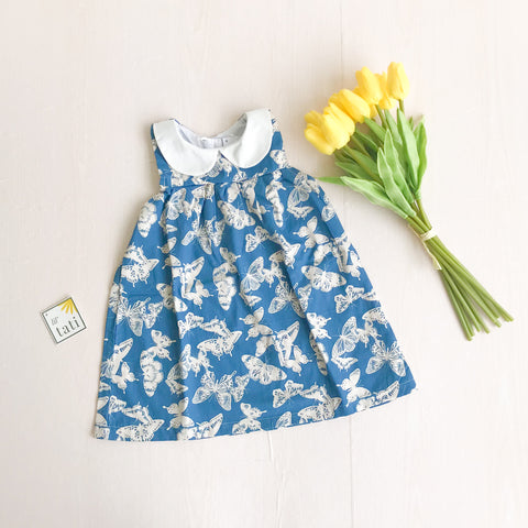 Tea Rose Dress in Blue Butterfly Print-Lil' Tati