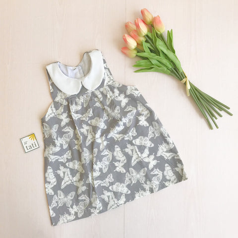 Tea Rose Dress in Gray Butterflies Print-Lil' Tati