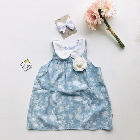 Tea Rose Dress in Soft Denim Floral-Lil' Tati