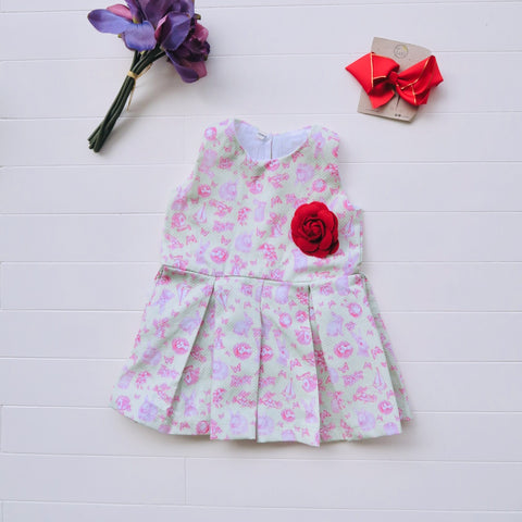 Tulip Dress in Pink Mint Bunnies