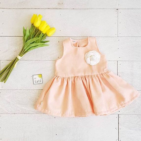 Tulip - Round Skirt Dress in Peach Embroidery - Lil' Tati