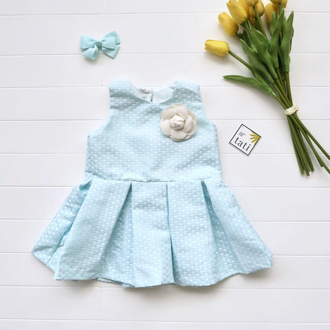 Tulip Dress in Shiny Sky Blue-Lil' Tati