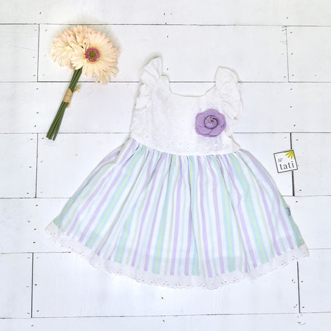 Periwinkle Dress in White Floral Embroidery Lilac Stripes - Lil' Tati