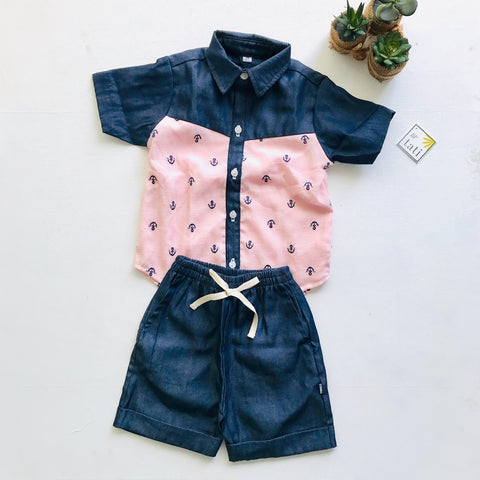 Birch Top & Shorts in Anchor Blush and Dark Blue Denim-Lil' Tati