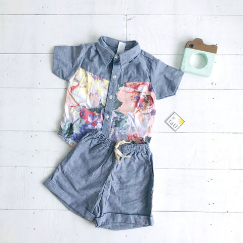 Birch Top & Shorts in Pastel Peonies and Gray Linen - Lil' Tati