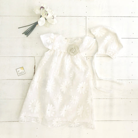 Magnolia Christening Set in Big Daisy Tulle-Lil' Tati