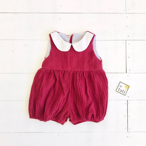 Orchid Playsuit - Collar in Crepe - Deep Red-Lil' Tati