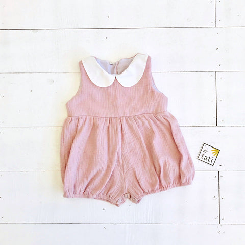 Orchid Playsuit - Collar in Crepe - Old Rose-Lil' Tati