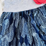 Dahlia Dress - Tie-Strap in Gray Cotton Stretch and Feather Blue-Lil' Tati