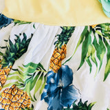 Dahlia Dress - Tie-Strap in Pineapple White and Yellow Cotton Stretch - Lil' Tati