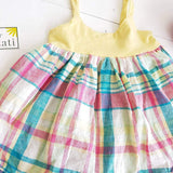 Dahlia Dress in Yellow Stretch and Bright Plaid-Lil' Tati