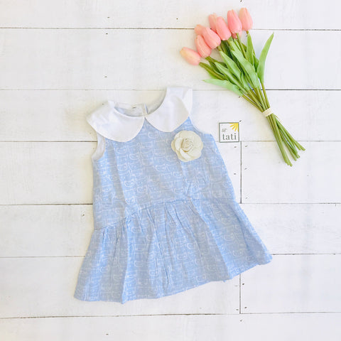 Daisy Dress in Cat Stamp Blue Print - Lil' Tati