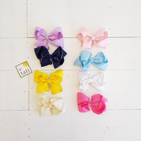 Double Bow with Gold Trimmings Hair Clips-Lil' Tati