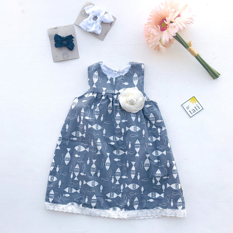 Peony Dress in Fish Are Friends Gray - Lil' Tati