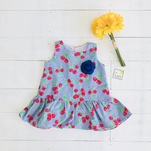 Holly Dress in Sky Cherries Print