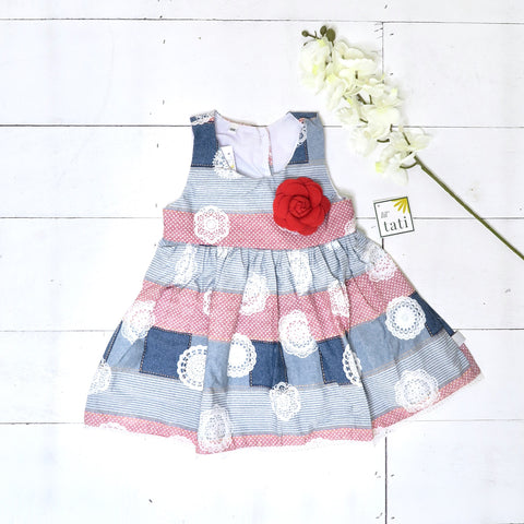 Iris Dress in Denim Print Collage-Lil' Tati