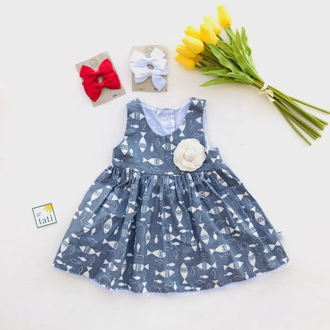 Iris Dress in Fish are Friends Print-Lil' Tati