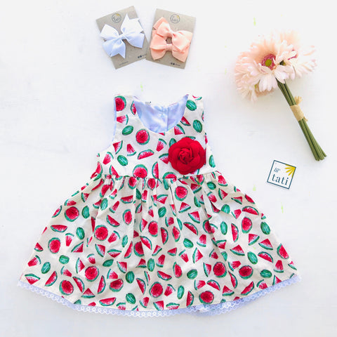 Iris Dress in Juicy Watermelon - Lil' Tati