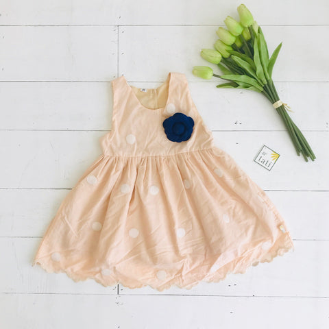Iris Dress in Peach Polka Cotton - Lil' Tati