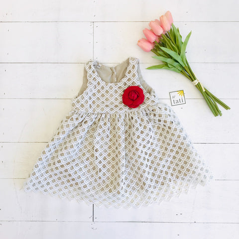 Iris Dress in White Diamond Eyelet-Lil' Tati