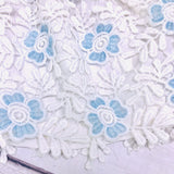 Iris Dress in White Neoprene & Sky Blue Floral Lace - Lil' Tati