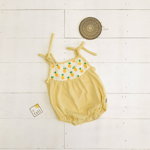 Lily Playsuit in Sweet Pineapple and Yellow Stretch - Lil' Tati