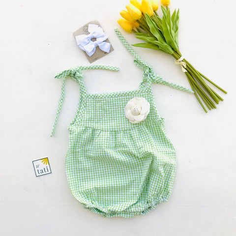 Lily Playsuit in Green Seersucker - Lil' Tati