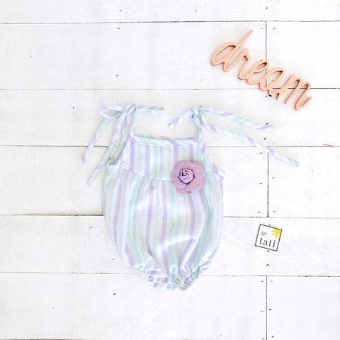 Lily Playsuit in Purple Mint Stripes - Lil' Tati