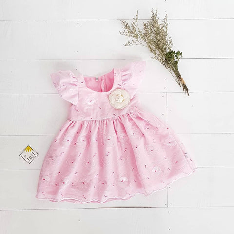 Lotus Dress in Baby Pink Rose Eyelet - Lil' Tati