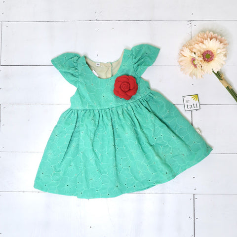 Lotus Dress in Jade Floral Eyelet-Lil' Tati