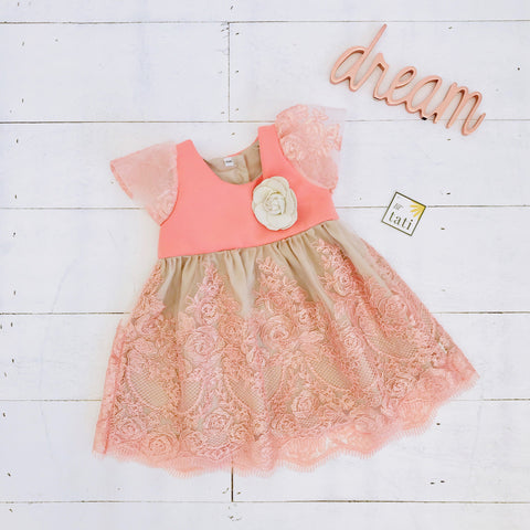 Lotus Dress in Living Coral Neoprene and Embroidery Tulle - Lil' Tati