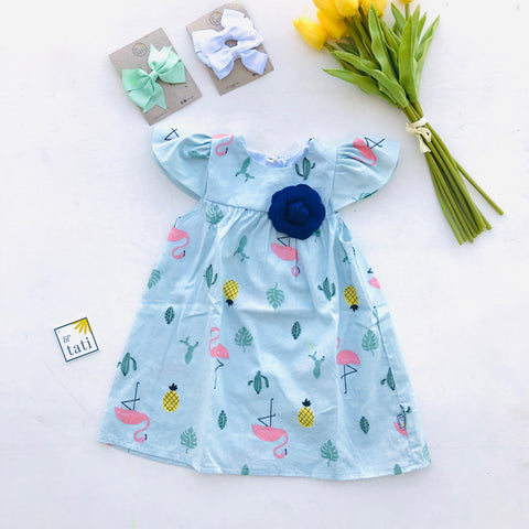 Magnolia Dress in First Flamingo - Blue