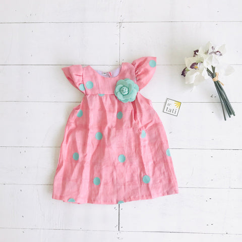 Magnolia Dress in Pink Mint Polka Embroidery - Lil' Tati
