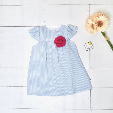 Magnolia Dress in Blue Pinstripes - Lil' Tati
