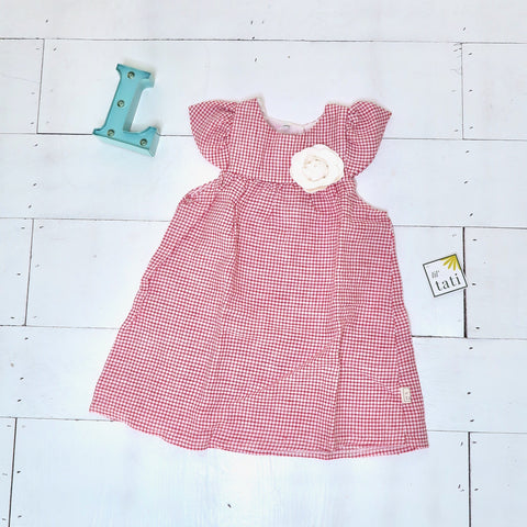 Magnolia Dress in Red Tattersall - Lil' Tati